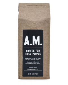 A.M. Coffee For Tired People, Caffeine Jolt, 12 oz Ground Package
