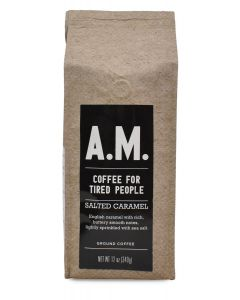 A.M. Coffee For Tired People, Salted Caramel, 12 oz Ground Package