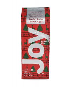 JOY Peppermint Bark Flavored Ground Coffee, 12 oz Package